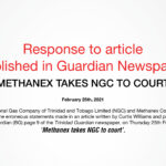 Response to Article Published in Guardian Newspaper: 'Methanex takes NGC to Court'